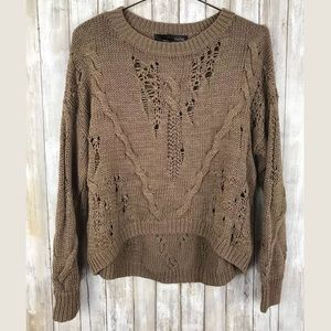 360 Sweater ETHEL Cable Knit Distressed Oversized